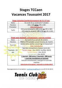 Stages Toussaint 2017