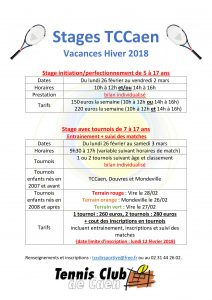 Stages vacances hiver 2018